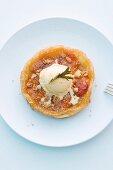 Mini apricot tart tatin with rosemary ice cream