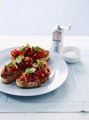 Tomato, Sardine and Olive Bruschetta