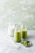 Banana and coconut milk smoothies with barley grass