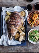 Roast lamb and carrots with buckwheat and carrot top pilaf