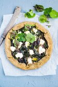 Herb quiche with chlorella and labneh