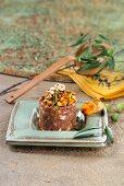 Beef tartare with Caesar's mushrooms (Spain)