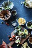 Zutatenstilleben für die mexikanische Küche