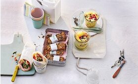 A brunch with takeaway dishes