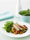 Chicken with Spicy Roasted Vegetable Salad