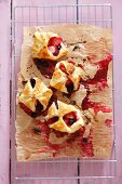 Strawberry and blueberry puff pastry turnovers