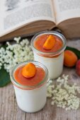 Ice cream parfait with elderflower syrup and apricots