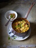 Turnip noodles with creamy lentils