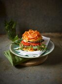 Vegetarian burger with a sweet potato bun