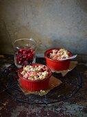 Mini crumbles with cranberries
