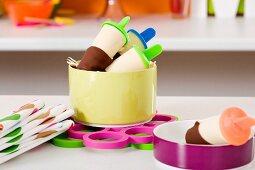 Vanilla ice cream with chocolate glaze