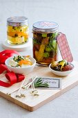 Pickled olives and feta cheese with lemons and herbs
