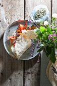 Tortilla wraps filled with goat's cheese and antipasti vegetables