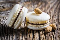 Almond macaroons on a wooden table