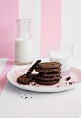Double chocolate chip cookies on a plate