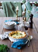 Kale quiche in a baking dish