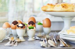 Brownies baked in eggshells (for an Easter buffet)
