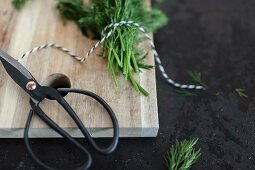 Kitchen scissors and twine with dill on a chopping board