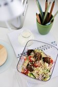 Meatballs with Couscous Salad & Yogurt for Lunch
