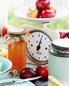Homemade apple butter in a glass jar
