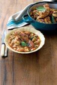 White bean stew with pork belly