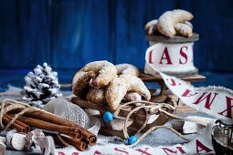 Vanilla crescent biscuits with Christmas decorations