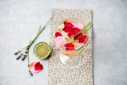 Water flavoured with apricots, lavender, lime and rose petals