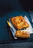 Puff pastry cake with spinach, feta cheese and butternut squash