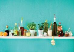 An arrangement of various ingredients for salad dressings
