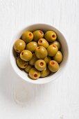 Spanische Manzanilla Oliven mit Paprikafüllung
