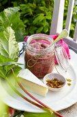 A jar of rhubarb chutney