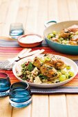 Chicken tagine with grapes and couscous salad