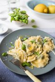 Ricotta and spinah ravioli with lemon butter, Pparmesan cheese and basil