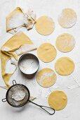 Fresh pasta dough cut out for making ravioli