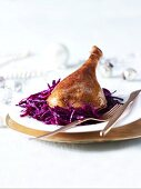 Crispy roast goose with red cabbage