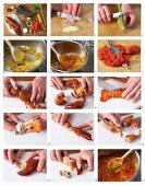 Mediterranean lobster being made