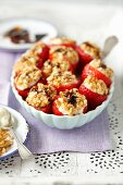 Strawberries stuffed with gorgonzola and walnuts with a balsamic sauce