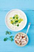 Vichyssoise (Kalte Suppe mit Lauch, Kartoffeln und Sahne, Frankreich)