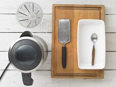 Kitchen utensils for making chocolate bread and elderberry punch