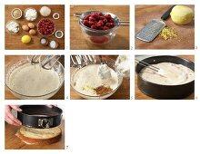 Ricotta quark cake with morello cherries being made