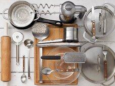 An arrangement of various kitchen utensils
