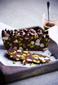 Rocky Road de Luxe with pistachio nuts and cranberries