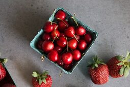 Fresh cherries and strawberries