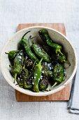 Roasted mini green peppers