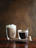 Espresso and coffee with milk froth