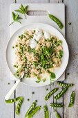 Pea and mint risotto (seen from above)