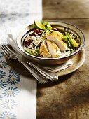 Gebratene Hähnchenbrust mit Rote-Bohnen-Reis & Kokossauce