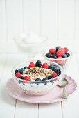 Müsli mit Joghurt, Chia-Samen, Trockenfrüchten und Beeren