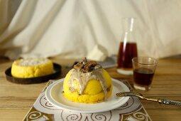 Polenta cakes with a mushroom filling and creamy poricni sauce
