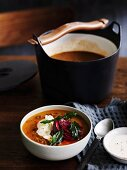 Persian red lentil soup with tahini, beetroot and fried mint